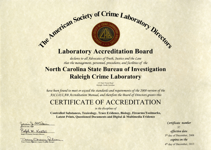 Forensic resources raleigh laboratory accreditation certificate yelopaper Choice Image